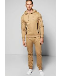 Boohoo - Skinny Fit Hooded Tracksuit With Sports Zips - Lyst
