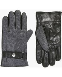 Boohoo - Leather Gloves With Melton Panelling - Lyst