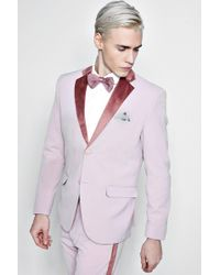 Boohoo - Skinny Fit Suit Jacket With Velvet Lapel - Lyst