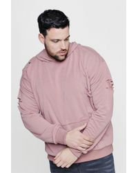 Boohoo | Big & Tall Over The Head Distressed Hoodie | Lyst