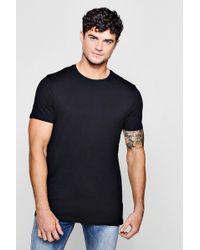 Boohoo - Crew Neck T-shirt With Step Hem T-shirt - Lyst