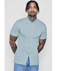 Boohoo - Muscle Fit Short Sleeve Jersey Shirt - Lyst