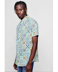 Boohoo - Tile Print Short Sleeve Shirt - Lyst