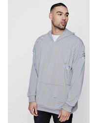 Boohoo | Oversized Over The Head Distressed Hoodie | Lyst