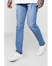 Boohoo - Distressed Pin Tuck Detail Skinny Fit Jeans - Lyst