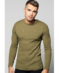 Boohoo - Knitted Crew Neck Jumper With Patch Pocket - Lyst
