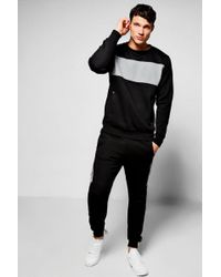 Boohoo - Skinny Fit Contrast Chest Panel Tracksuit - Lyst