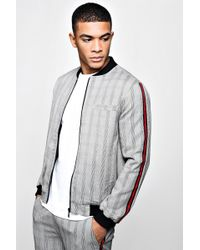 BoohooMAN - Mono Check Smart Bomber Jacket With Tape - Lyst