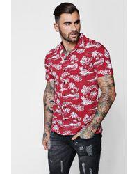 Boohoo - Palm Tree Print Revere Short Sleeve Shirt - Lyst