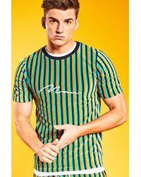 Boohoo - Loose Fit Man Signature Velour Stripe T-shirt - Lyst