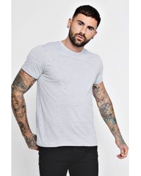 0427ad62 Lyst - Boohoo Man T-shirt With Roll Sleeves in Natural for Men