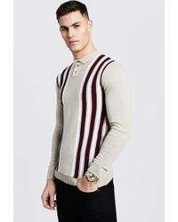 b892a7d63e47 Boohoo Dele Rib Stripe Knitted Muscle Fit Polo in Blue for Men - Lyst