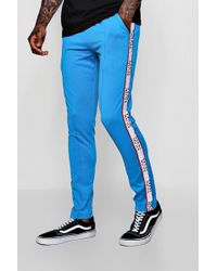 Boohoo - Skinny Fit Tricot Joggers With Man Dash Tape - Lyst