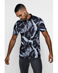 Boohoo - Muscle Fit Floral Print Polo - Lyst