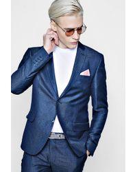 Boohoo - Gingham Skinny Fit Suit Jacket - Lyst