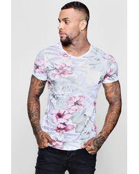 2032c9d0634 Lyst - Boohoo Longline Curved Hem Distressed T Shirt for Men