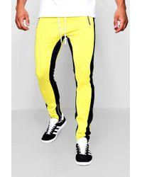 Boohoo - Skinny Fit Man Tricot Colour Block Joggers - Lyst