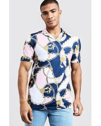 BoohooMAN - Muscle Fit Baroque Print Revere Collar Polo - Lyst