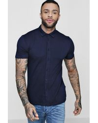 Boohoo - Muscle Fit Short Sleeve Jersey Shirt - Lyst
