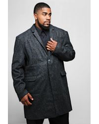 BoohooMAN - Big And Tall Wool Mix Check Overcoat - Lyst