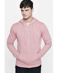 Boohoo - Half Zip Over The Head Hoodie - Lyst