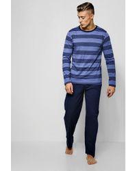 Boohoo - Stripe Long Sleeve & Trousers Pyjama Set - Lyst