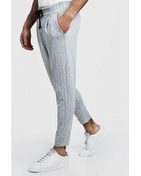 BoohooMAN - Pinstripe Smart Jogger Trousers - Lyst