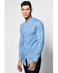 Boohoo - Long Sleeve Denim Chambray Shirt W/ Gandad Collar - Lyst