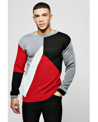 Boohoo - Colour Block Knitted Jumper - Lyst