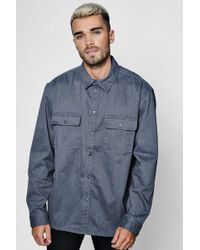 Boohoo - Grey Long Sleeve Double Pocket Denim Overshirt - Lyst