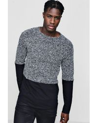 Boohoo - Boucle Jumper With Jersey Panel - Lyst