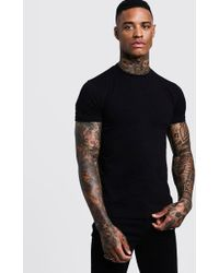 6f9bade0 Lyst - Boohoo Short Sleeve Muscle Fit Turtle Neck T-shirt in Natural ...