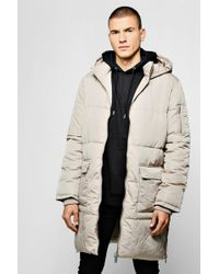 BoohooMAN - Hooded Longline Puffer With Side Zips - Lyst