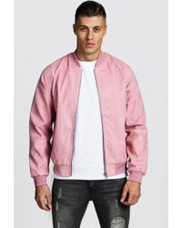 BoohooMAN - Faux Suede Bomber Jacket - Lyst
