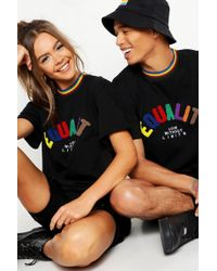 defb1891 BoohooMAN - Pride Loose Fit T-shirt With Equality Applique - Lyst