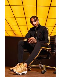 Boohoo - Gold Man Embroidered Funnel Tracksuit With Tape - Lyst