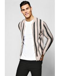 BoohooMAN - Striped Knitted Bomber Jacket - Lyst
