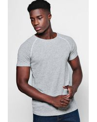 Boohoo - Muscle Fit Knitted T-shirt With Piping - Lyst