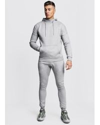 BoohooMAN - Funnel Neck Hooded Tracksuit With Skinny Joggers - Lyst