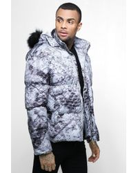 BoohooMAN - Puffer Jacket With Detachable Fur In Grey - Lyst