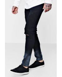 ff9e815bdbd5c Lyst - Boohoo Black Denim Biker Jeans In Skinny Fit in Black for Men