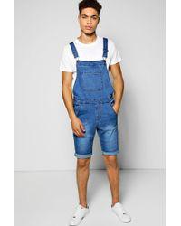 Boohoo - Slim Fit Denim Dungaree Shorts - Lyst