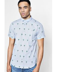 Boohoo - Short Sleeve Palm Tree Print Shirt - Lyst