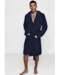 Boohoo   Navy Hooded Dressing Gown In Towelling   Lyst