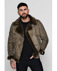 Boohoo - Faux Fur Lined Suede Aviator - Lyst