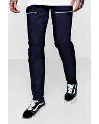 Boohoo - Zip Cargo Trouser In Slim Fit - Lyst