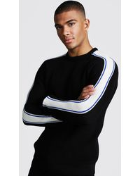 BoohooMAN - Long Sleeve Muscle Fit Knitted Side Stripe Jumper - Lyst