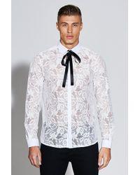 Boohoo - Premium Long Sleeve Lace Shirt - Lyst