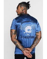 Boohoo - Skull Embroidered Revere Shirt - Lyst