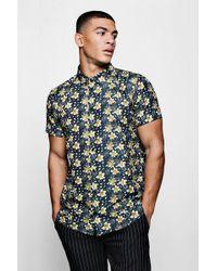 Boohoo - Gold Floral Print Short Sleeve Satin Shirt - Lyst